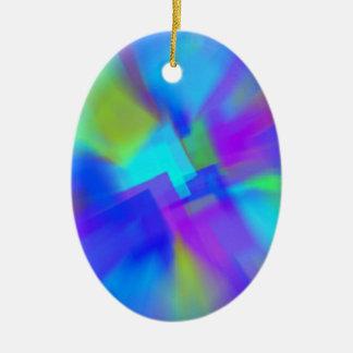 Extracto en azul adorno navideño ovalado de cerámica