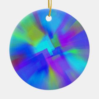 Extracto en azul adorno navideño redondo de cerámica