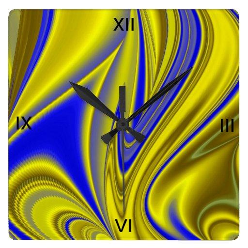 extracto en azul oro-amarillo reloj cuadrado