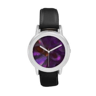 Extracto en colores pastel de la mariposa púrpura relojes de mano