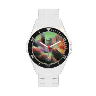 Extracto en colores pastel del agua del fuego reloj