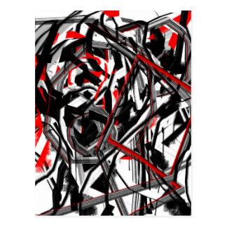 Extracto en gris, rojo, y negro postal