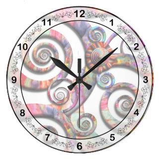 Extracto - espirales - país de las maravillas reloj redondo grande