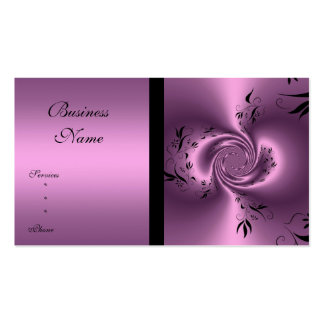 Extracto floral de color de malva y negro de la tarjetas de visita