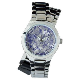 Extracto floral de la plata del arte del Grunge Reloj