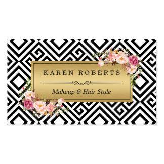 Extracto floral del oro del artista de maquillaje tarjetas de visita