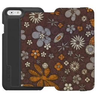 Extracto floral del tono de la tierra funda billetera para iPhone 6 watson