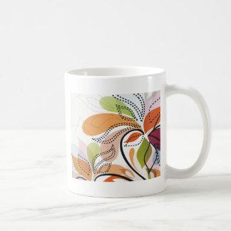 extracto floral del vintage taza básica blanca