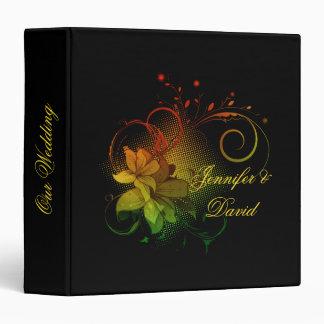Extracto floral en álbum negro del boda