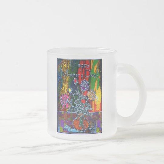 Extracto floral feliz del día de madres taza de café esmerilada