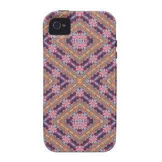 Extracto floral púrpura y rosado vibe iPhone 4 carcasas