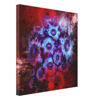 Extracto floral rojo y azul bonito impresión en lienzo