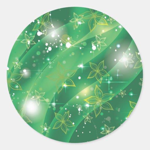 Extracto floral verde etiqueta redonda