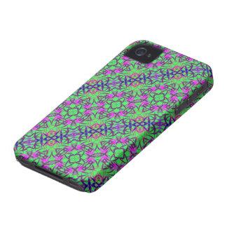 Extracto floral verde y púrpura iPhone 4 fundas