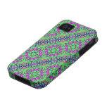 Extracto floral verde y púrpura iPhone 4/4S funda