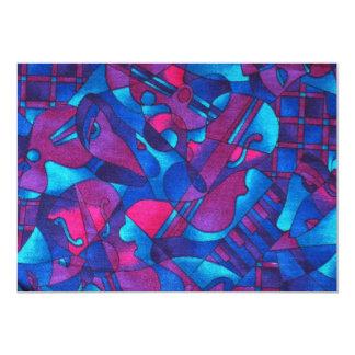 Extracto gráfico ilustrativo - azul-rosado invitación 12,7 x 17,8 cm