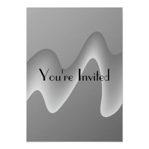 Extracto gris de la onda invitación 12,7 x 17,8 cm