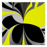 Extracto gris negro amarillo poster