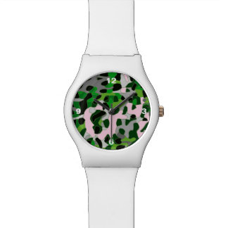 Extracto gris verde fluorescente del guepardo relojes de mano