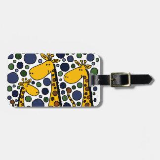 Extracto lindo del arte de la familia de la jirafa etiqueta para equipaje