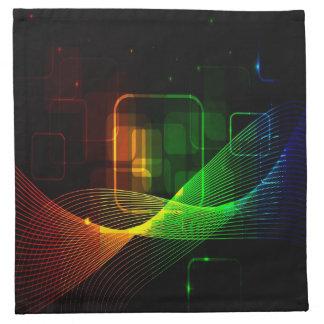 Extracto, líneas que brillan intensamente servilletas imprimidas
