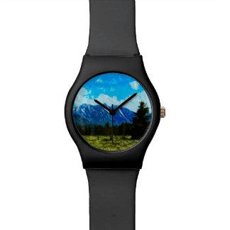 Extracto magnífico de las montañas de Wyoming Reloj
