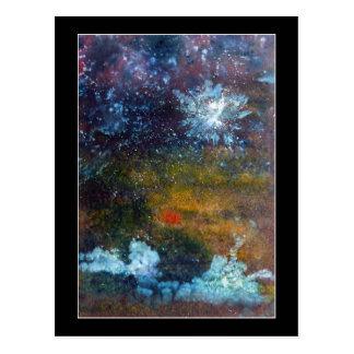 Extracto mar en la noche tarjeta postal