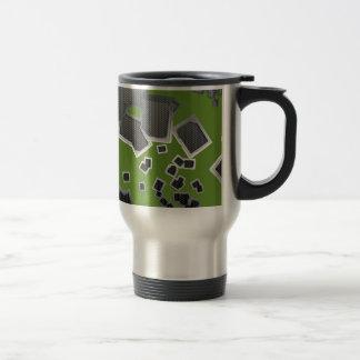 Extracto metálico de los cuadrados tazas de café