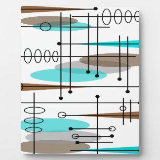 Extracto moderno de los mediados de siglo atómicos placa de plastico