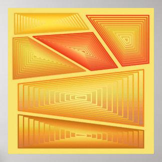 Extracto moderno - pirámides tridimensionales, oro poster