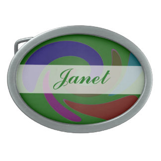 Extracto moderno verde colorido hebilla de cinturon oval