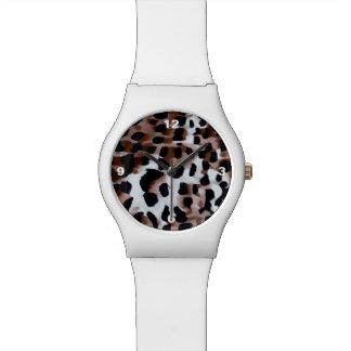 Extracto negro blanco del guepardo de Brown Relojes De Pulsera