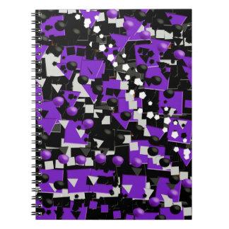Extracto negro púrpura loco libros de apuntes