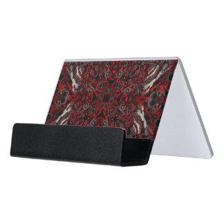 Extracto negro rojo de la cebra del fuego caja de tarjetas de visita para escritorio