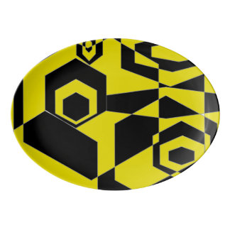 Extracto negro y amarillo retro badeja de porcelana
