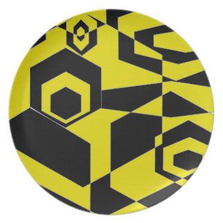 Extracto negro y amarillo retro plato
