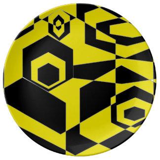Extracto negro y amarillo retro platos de cerámica