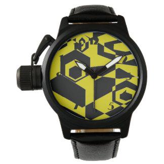 Extracto negro y amarillo retro reloj de mano