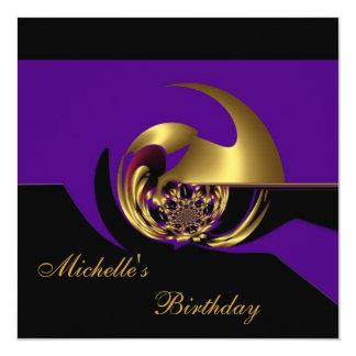 Extracto negro y púrpura del cumpleaños de la comunicado personalizado