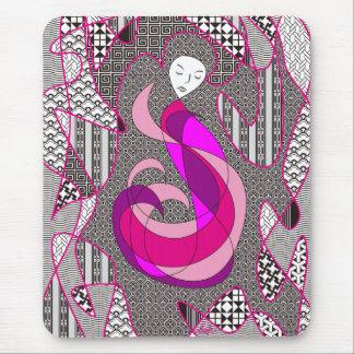 Extracto ocultado del pelo del rosa de la mujer de mouse pad