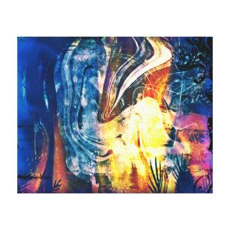 Extracto pintado del Señora-Fuego y del hielo Lona Envuelta Para Galerias