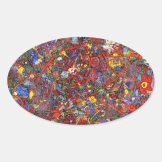 Extracto - pintura de la tela - cordura calcomanías ovales