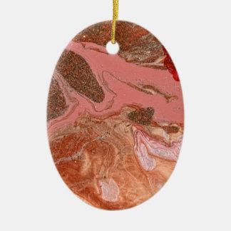 Extracto - pintura - el flujo del universo adorno ovalado de cerámica