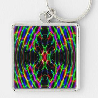 Extracto psicodélico de neón de la luz laser llavero cuadrado plateado