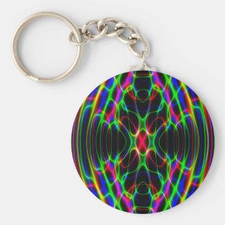 Extracto psicodélico de neón de la luz laser llavero redondo tipo pin