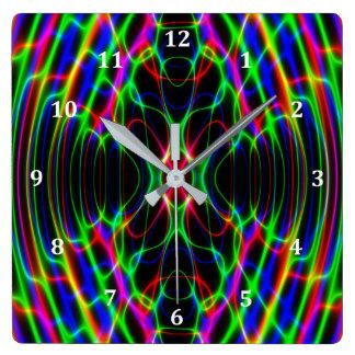 Extracto psicodélico de neón de la luz laser reloj cuadrado