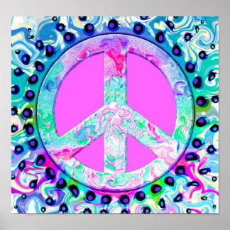 Extracto psicodélico del signo de la paz impresiones