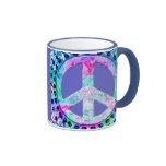 Extracto psicodélico del signo de la paz tazas de café