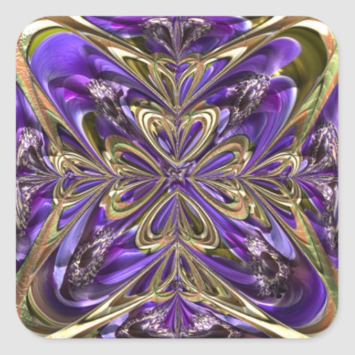 Extracto púrpura de la anémona pegatina cuadrada
