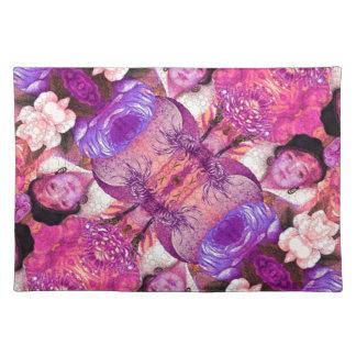 extracto púrpura de la mujer del vintage de manteles individuales